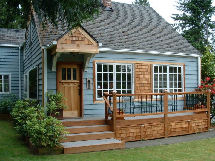 exterior: cedar: shingle: wood: railings: door